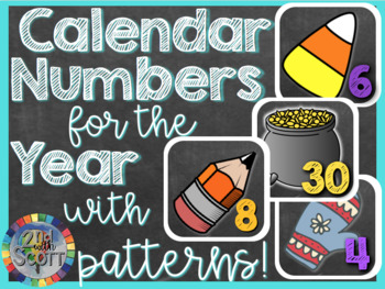 Calendar Numbers for the Year WITH PATTERNS! #TpTCyber17