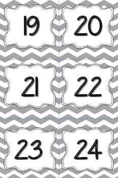 Calendar Numbers or Number Cards in Grey Chevron