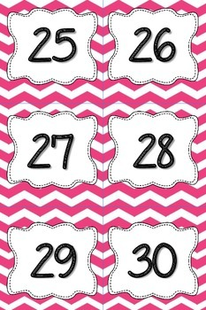Calendar Numbers or Number Cards in Pink Chevron