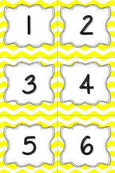 Calendar Numbers or Number Cards in Yellow Chevron