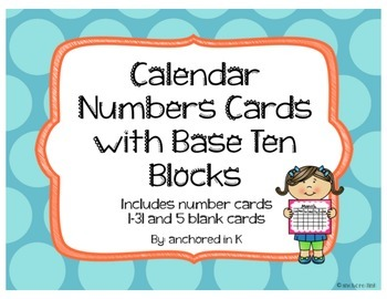 Calendar Numbers with Base Ten Block Representation
