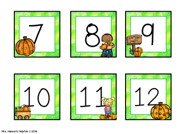 Calendar Numbers with Pumpkin Theme