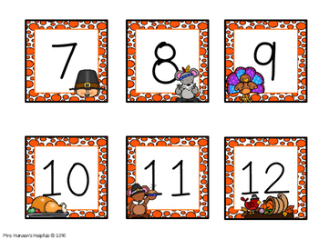 Calendar Numbers with a Thanksgiving Theme