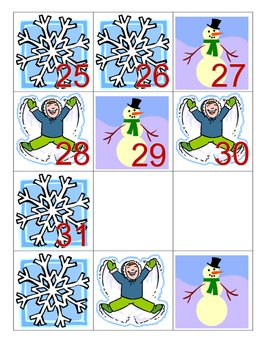 Calendar Numbers with patterning - January