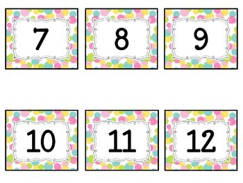Calendar NumbersBright Polka Dot