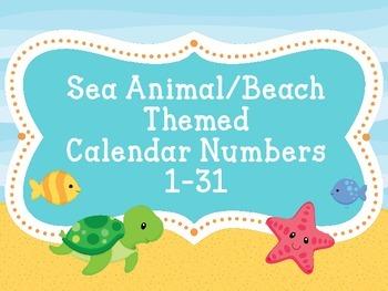 Calendar NumbersSea Animal/Beach Theme