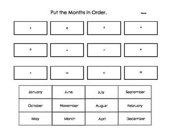 Calendar Order - Ontario Curriculum Grade One