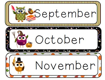 Calendar Owls Year-Round Packet