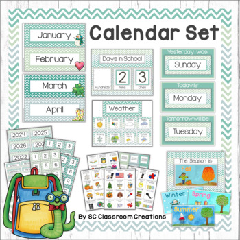 Chevron Calendar Set (Blue and Green)-Classroom Decor