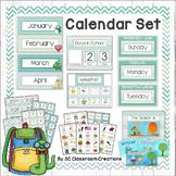 Chevron Calendar Set (Blue and Green)-Classroom Decor