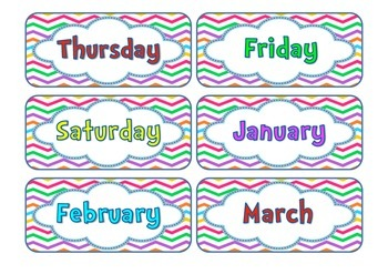 Calendar Pack - Bright Chevron Theme