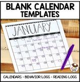 Calendar Pack Includes Blank Calendars Reading Logs and Behavior Calendars