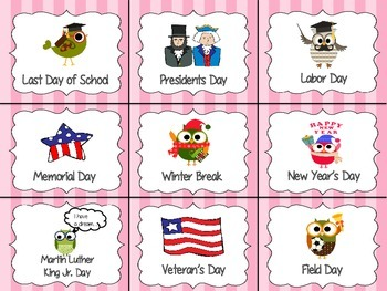 Calendar Pack Owl Themed - Pocket Chart or Velcro