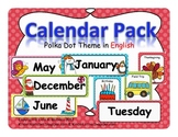 Calendar Pack- Polka Dot Theme in ENGLISH