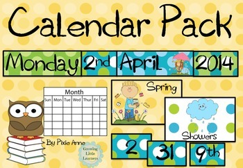 Calendar Pack Turquoise and Lime green