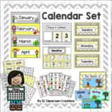 Chevron Calendar Set (Yellow and Gray)-Classroom Decor