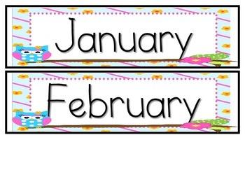  Calendar Packet-- Owl Theme