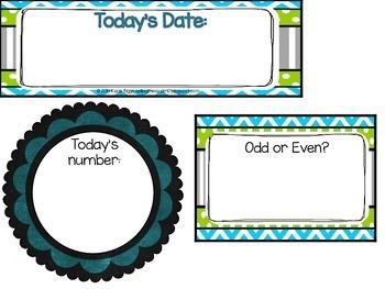 Calendar Parts- Blue, Lime Green, Gray Chalkboard Theme
