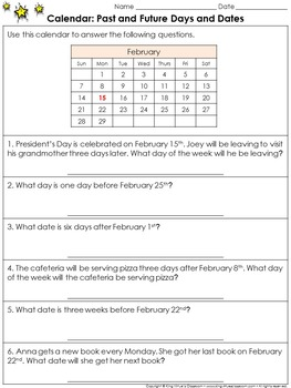 Calendar: Past and Future Days and Dates Practice Sheets - King Virtue