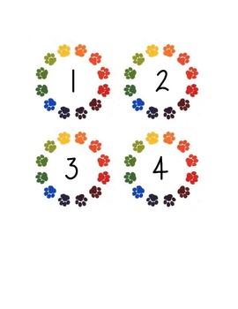 Calendar Paw Print Numbers