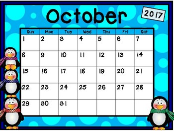Calendar - Penguin Theme - School Year Calendar