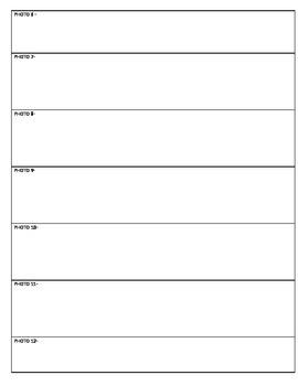 Calendar Photo writing activity