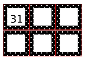 Calendar Pieces - Black and white Polka-Dots with Red Trim (year 2013/2014)