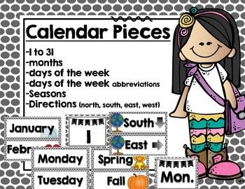 Calendar Set- Black and white polka dot