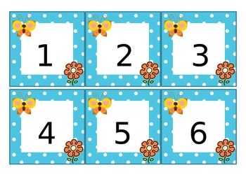 Calendar Pieces - Blue and White Polka-dots with Butterfly and Flower