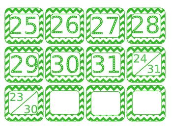 Calendar Pieces - Chevron Primary Colors