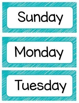 Calendar Cards Gray and Teal