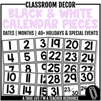 Calendar Pieces {Simple Black and White}