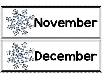 Calendar Pieces {Snowflake Themed}
