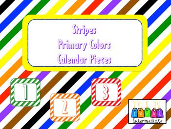 Calendar Pieces - Striped Primary Colors.