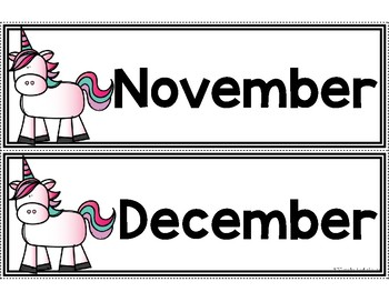 Calendar Pieces {Unicorn Themed}