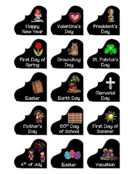 Calendar Pieces with Extras - Create Your Own Room  Black Dot - Black ChalkBoard