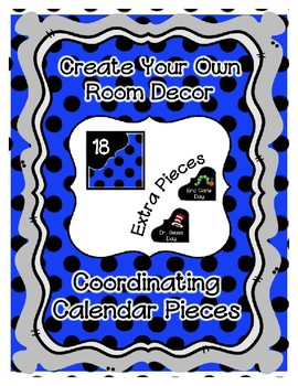 Calendar Pieces with Extras - Create Your Own Room - Black Dot - Blue