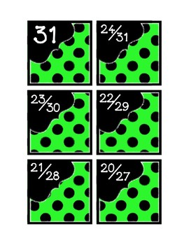 Calendar Pieces with Extras - Create Your Own Room - Black Dot - Bright Green