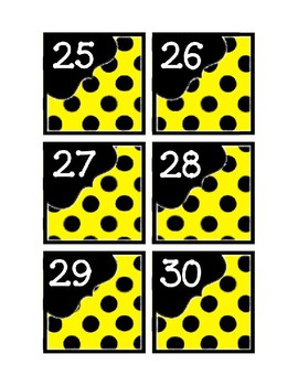 Calendar Pieces with Extras - Create Your Own Room - Black Dot - Bright Yellow