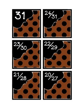 Calendar Pieces with Extras - Create Your Own Room - Black Dot - Brown