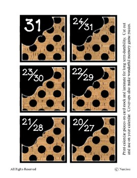 Calendar Pieces with Extras - Create Your Own Room - Black Dot - Cork
