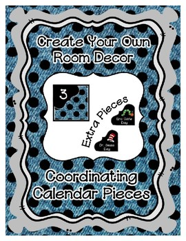 Calendar Pieces with Extras - Create Your Own Room - Black Dot - Denim