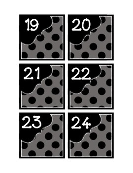 Calendar Pieces with Extras - Create Your Own Room - Black Dot - Gray