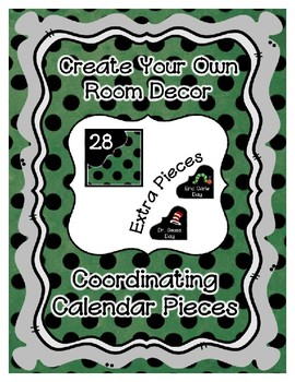 Calendar Pieces with Extras - Create Your Own Room  Black Dot - Green ChalkBoard