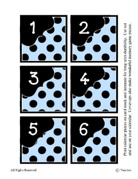 Calendar Pieces with Extras - Create Your Own Room - Black Dot - Pastel Blue