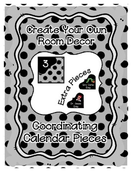 Calendar Pieces with Extras - Create Your Own Room - Black Dot - Pastel Gray