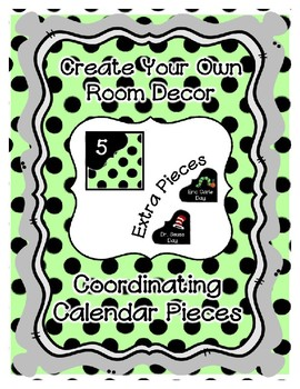 Calendar Pieces with Extras - Create Your Own Room - Black Dot - Pastel Green
