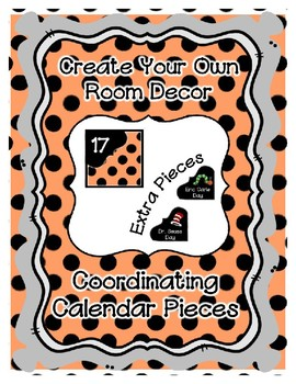Calendar Pieces with Extras - Create Your Own Room - Black Dot - Pastel Orange