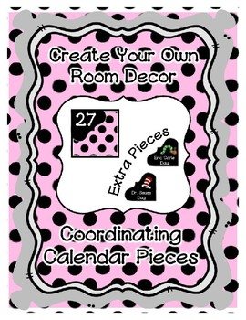 Calendar Pieces with Extras - Create Your Own Room - Black Dot - Pastel Pink