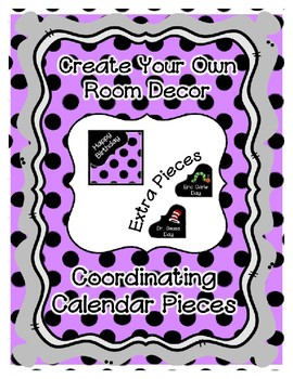 Calendar Pieces with Extras - Create Your Own Room - Black Dot - Pastel Purple